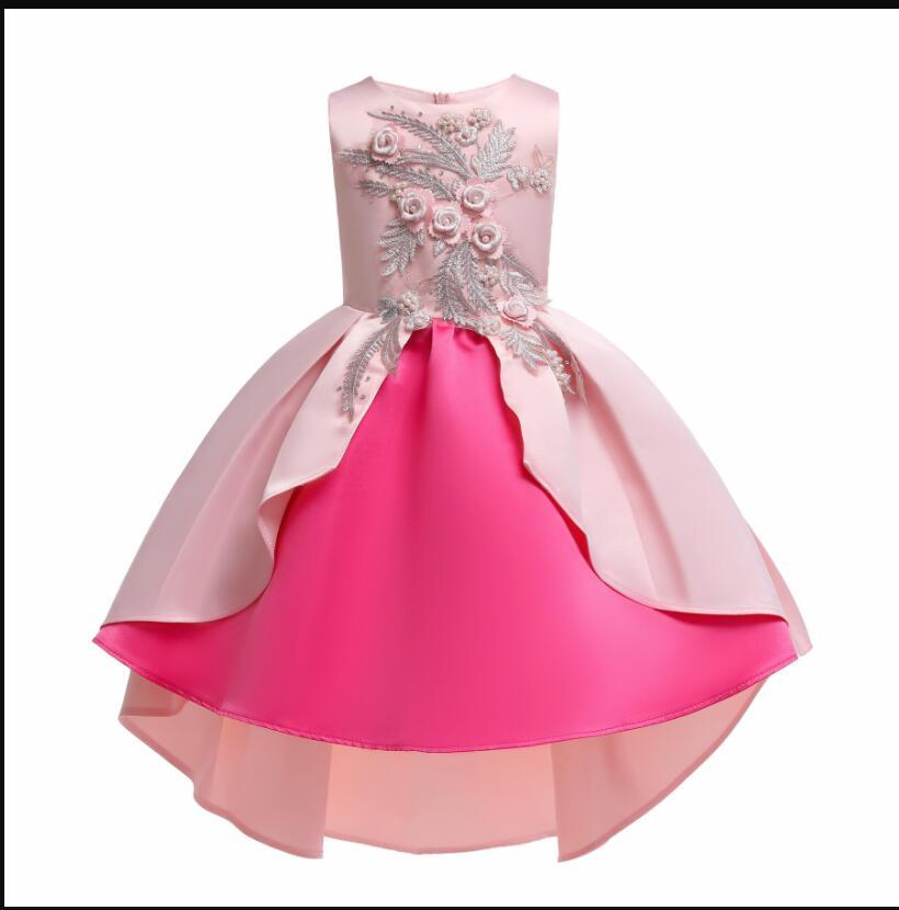 Sexy  Pink  Satin Embroidery Short Flower Girl Dress  Sleeve Formal  Party Gowns