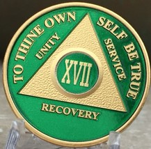 17 Year AA Medallion Green Gold Plated Alcoholics Anonymous Sobriety Chi... - $20.39