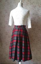 2017 Autumn Women Plaid Skirt Pleated Plaid Skirt - High Waist, Red Check,Midi  image 4