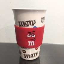 M&M's Travel 12oz Ceramic Coffee Tea Mug Cup With Red Silicone Sleeve - $12.99