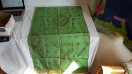 VTG HAND PAINTED GREEK TABLECLOTH GREEN METALIC GRAPE WREATH GRECIAN URN... - $9.89