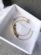 SALE* AUTHENTIC Christian Dior 2019 J'ADIOR Star Hoop Earrings Aged Gold image 3