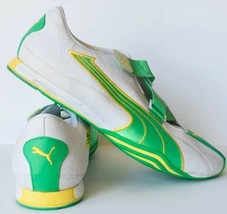 Puma Cell Womens Athletic Running Shoe Sneaker White Leather Green/Yello... - $39.59