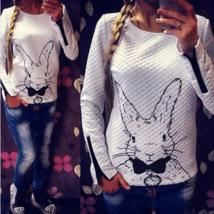 Cute Rabbit Print O-Neck Pullover - $17.94