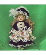 """Vintage Geppedo 15"""" Porcelain Doll, Blue Velvet, White Lace, And White F... - $12.95"""