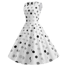 Polka dot O-neck sleeveless Women's causal retro pendulum Dresses #JY13826 - $33.00