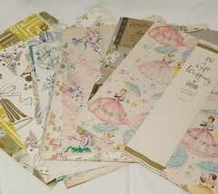 Vintage Wrapping Paper Lot Wedding Bridal Shower Gibson Ephemera Assorted  - $29.69