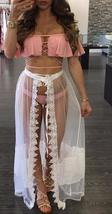 Fashion Sheer Lace Wide Leg Skirt Pant Summer Split Ruffle Translucent Long Whit - $21.99