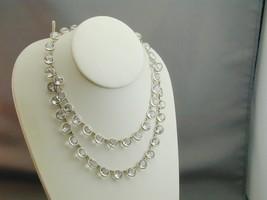 Art Deco Silver Open Back Bezel Set Draped Bib 2 Strand Crystal Necklace... - $249.99