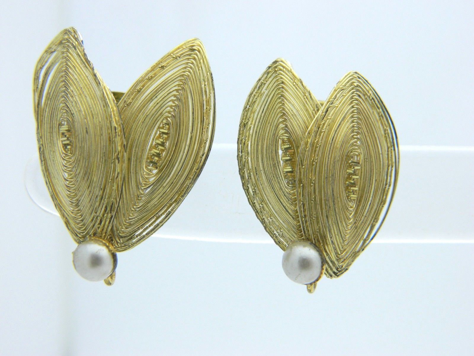 GERMANY Faux Pearl Gold Tone Double Wing Wire Clip-On Earrings Vintage