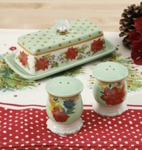New! Pioneer Woman Mint Green Holiday Cheer Butter Dish Salt Pepper Shakers - $33.11