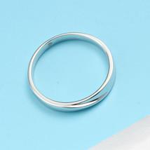 Minimalism 14K White Gold Men Engagement Wedding Ring Band Introverted Love image 5