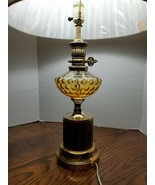 Vintage Hollywood Regency Style Amber Bubble Glass and Brass Table Lamp Art Deco - $141.37