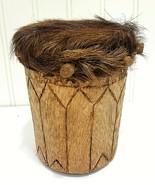 Primitive Handmade Wood Frame Drum Animal Hide Head Fur Wooden Pegs Hand Made - $44.09 CAD