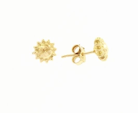 18K YELLOW GOLD EARRINGS WITH VERY SHINY SUN WORKED MADE IN ITALY 0.28 INCHES