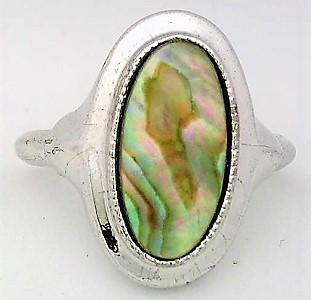 Paua shell silver plate avon ring  1