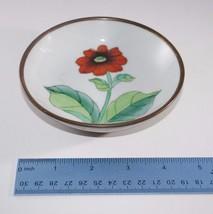 "Vintage Flower Ceramic Porcelain Small Decorative Bowl 5"" Brass Hanging ... - $27.72"
