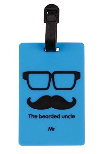 Set Of 2 Luggage Tag Bag Tags Silicone Name Tag Travel Tag [Blue Bearded Uncle]