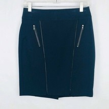 Ann Taylor Women Size Petite Blue Pencil Skirt Vegan Leather Piping - $19.77