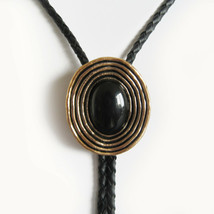 Original New Vintage Gold Plated Nature Black Obsidian Stone Oval Bolo Tie - $14.55