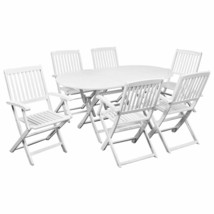 vidaXL Solid Acacia Wood 7 Piece Outdoor Dining Set White Garden Chair T... - $314.99