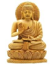 Buddha Groove Hand Carved Wood Sitting Buddha Statue - $20.58