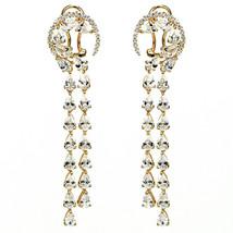 ZirconZ-Pave Signity CZ Sterling Silver TearDrop Waterfall Omega Dangle Earrings - $179.99