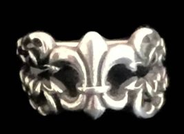 Vintage Fleur de Lis Sterling Silver Ring Lily Flower Size 6 Crown of Fr... - $48.00