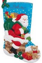 Bucilla Down the Chimney Santa Christmas Eve Holiday Felt Stocking Kit 8... - $37.95