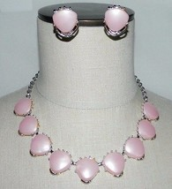 Vintage Silver Tone Pink Thermoset Abstract Triangle Choker Necklace Earring Set - $49.50