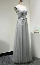 Long V Neck V Back Light Grey Lace Tulle Bridesmaid Wedding Dresses with Sash   - $106.50