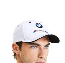 PUMA BMW M BB Dad Cap Motorsport Sports Car Logo Strap Back White Baseball Hat image 3
