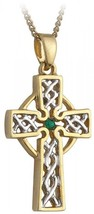 Filigree Celtic Cross Necklace Silver and Gold Plated Irish Made - $95.00