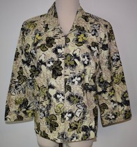 Christopher Banks Large Jacket Zip Front Floral Linen Cotton 3/4 Sleeve ... - $17.72