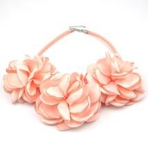 Handmade Green Grey Pink Fabric Flower Choker Necklace Fashion Indian Je... - $10.20