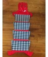Handmade Red Embroidered Dog w Black & White Plaid Pockets Puppy Dog Tre... - $28.66