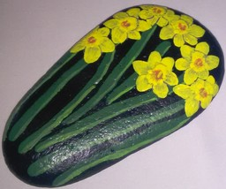 Daffodils painted on a rock image 2