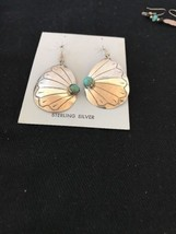 Native American Sterling Silver Handmade Turquoise Old Pawn Earrings - €92,26 EUR