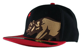 Dissizit! Side Bear Black Red Brim Snapback Cap Hat California Star Flag image 2