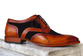 Handmade Men's Brown Leather & Black Suede Wing Tip Brogues Oxford Shoes image 2