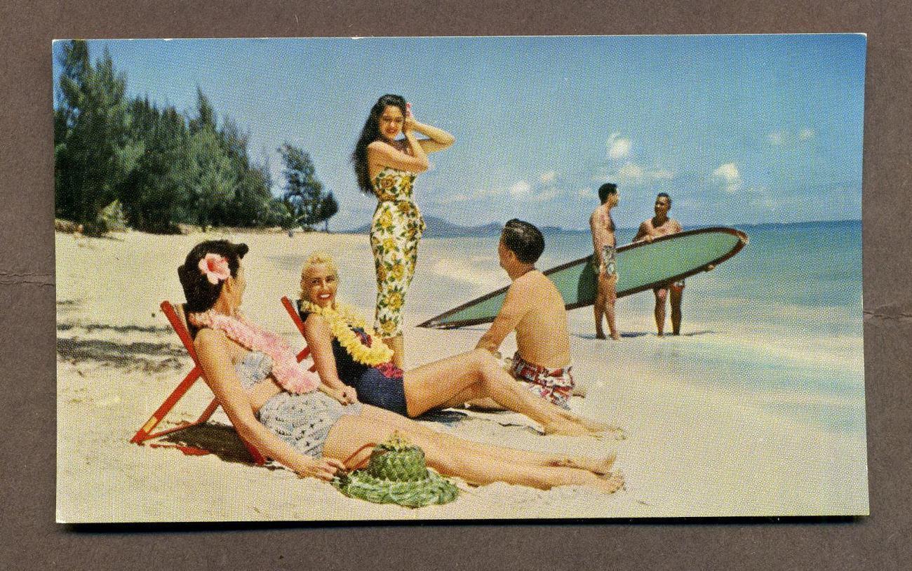 Vintage Postcard United Air Lines Hawaii Beaches Sunbather Bathing Beauty 1960s