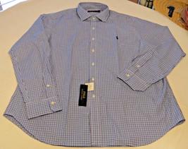 Herren Polo Ralph Lauren XXL Langärmelig Marineblau Weiß Kariert 991002 ... - $47.88