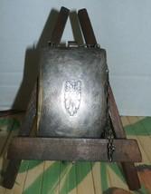 """Antique Silver Purse Mirror Vintage Chain Marked """"W"""" - $98.99"""