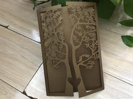 Brown Tree 50pcs Laser Cut Wedding Invitations,Invitation Cards,Sweet in... - $53.80