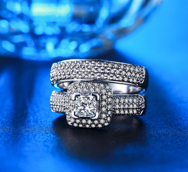 LMNZB Promise Original 925 Sterling Silver Ring Set Classic Wedding Jewelry Cubi