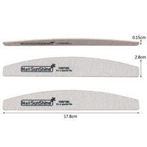 Sandpaper Nail Art Files Grey Wooden Sanding Nail Buffer Curved 50Pcs 100/180 image 2