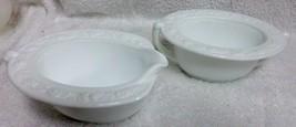 Vitrock White Milk Glass Creamer & Sugar Bowl Hocking Depression Embosse... - $24.99