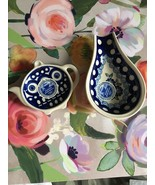 Bundle Of 2 Polish Pottery Spoon Rest & Teabag Plate NWT - $23.99