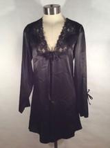 FREDERICKS of Hollywood satiny silky bath robe black Sz Small 100% Polye... - $18.54