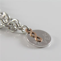 925 RHODIUM SILVER JACK&CO BRACELET WITH 9KT ROSE GOLD INFINITY  MADE IN ITALY image 3